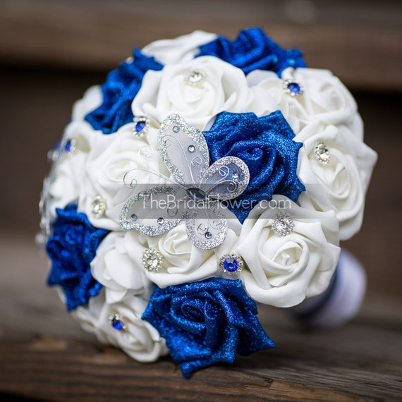 Royal Blue And Silver Wedding Flowers: Butterfly Wedding Bouquet Royal Blue Bridal By TheBridalFlower