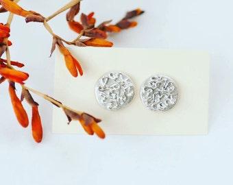 Art clay silver stud earrings - small post earrings - sterling silver earrings