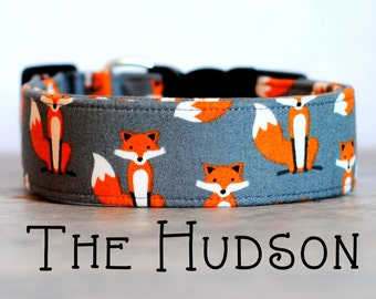 "Dog Collar Playful Unisex Orange & Grey Foxes ""The Hudson"""