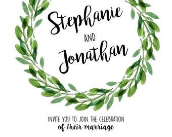 Green Wreath Wedding Invitation