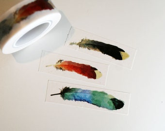 Watercolor Big Feather Painting Washi Tape