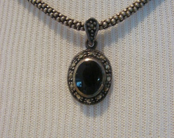 Black Onyx & Marcasite In Sterling Setting Pebble Chain