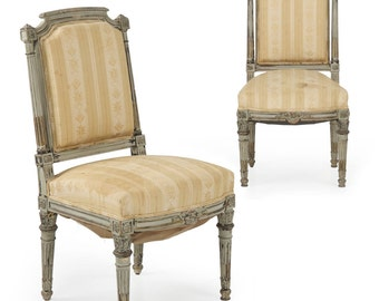 Louis XVI Style Painted Pair of French Antique Side Chairs 19th Century, 502ZYL20P