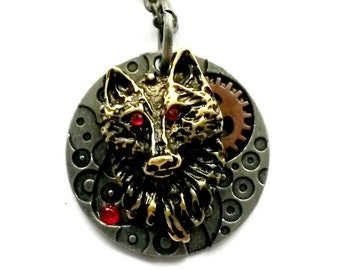 Steampunk Wolf Necklace Red Eye Shape Shifter Pendant Handmade Gift