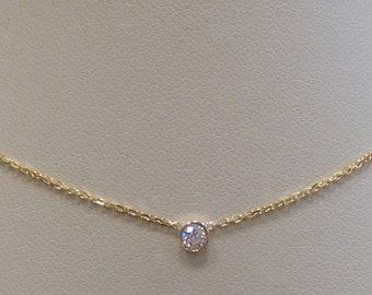 Diamond Solitaire Bezel Set Necklace 0.10 ct 14k/ Delicate Diamond Bezel Necklace / Dainty Diamond Necklace Yellow Gold SI1 Clarity G Color