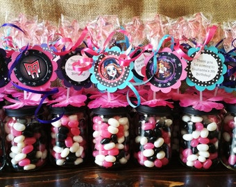 Monster High Party Favors -  Baby Food Jar Party favors, Monster High Birthday decor