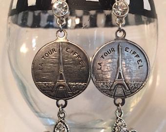 Paris Souvenir Bracelet Earrings/ vintage earrings/silver/French Inspired