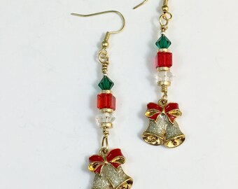 Christmas Bells Crystal Beaded Dangle Earrings