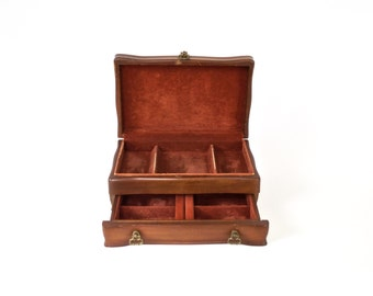 Solid Wood JASCO Jewelry Box//1980's Jewelry Chest Mid Size with Rust Brown Velvet Lining