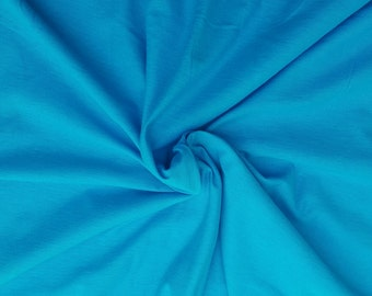 "Turquoise Cotton Fabric Jersey Knit by the Yard 59"" W 6/16"