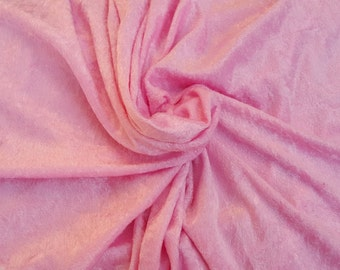 Pink Crushed Panne Stretch Velvet Velour Fabric by Yard Drapery Backdrop 12/15