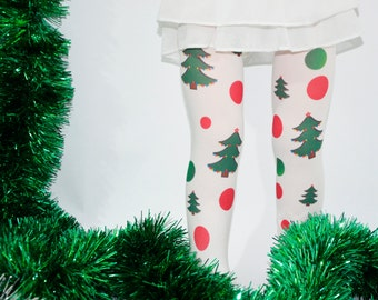 Christmas Kids Tights , Xmas  Tights , Stockings , Green, Red , Christmas Tree , Baby Girls Christmas Tights , Holiday