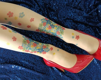 Flower Hand printed Tattoo Tights , Tattoo Tights, Pantyhose, S-XXL Sizes Available