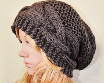 Slouchy Cable Mix style beanie hat - Deep TAUPE / Chocolat (or Choose Color) - chunky - baggy - Medium thickness & extra warm