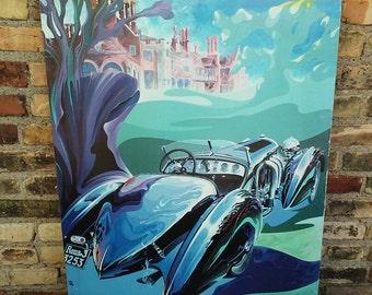 Vintage Tom Hale Auto Poster Print for Detroit Race