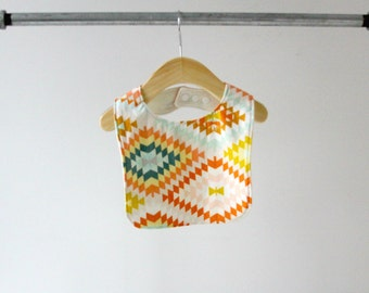 Baby/Toddler Bib, Large Peach Teal Kilim Cotton with Organic Bamboo Terry