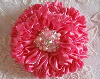 Handmade Ribbon Flower With Pearls Rhinestone (3.5 inches) In Hot pink MY-445-21 Ready To Ship