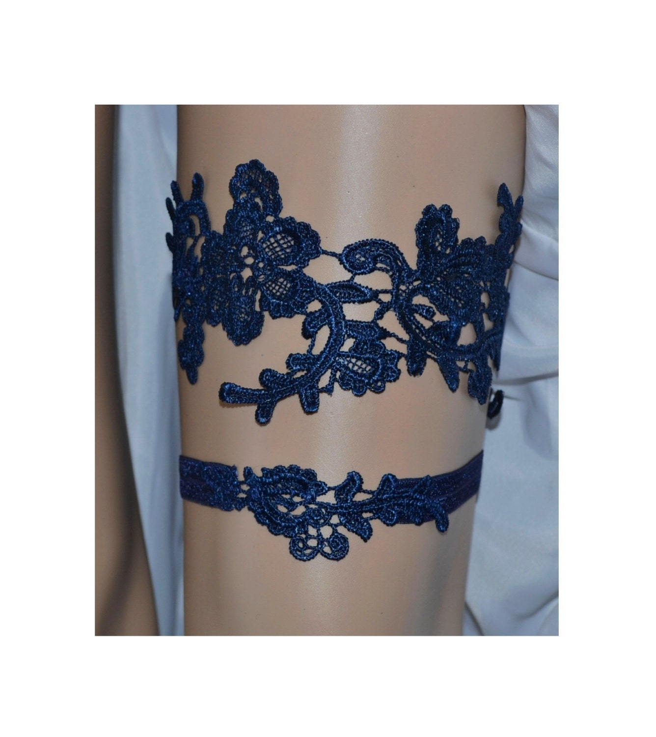 Navy Blue Lace Wedding Garter Set Something Blue Bridal