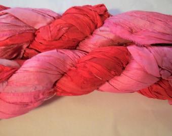 SALE 45 Yards, Sari Silk Ribbon Skein,  Cherry Ice Cream,  Fair Trade from India,  Medium Weight Sari ribbon