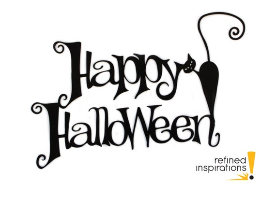 Happy Halloween Metal Sign with Cat - Black, 16x10.5, Black Cat, Halloween Decor, Halloween Home Decor, Outdoor Sign