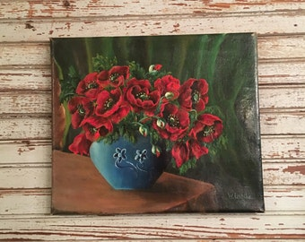 Antique floral oil painting Poppies