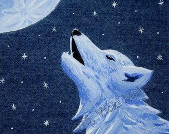 Wolf Decor, Wolf wall Art, Wolf poster, howling wolf, wolf art, poster print, denim decor, denim wall art, denim wolf, wildlife, Item #LLBPP