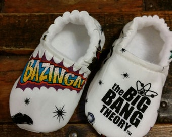 The Big Bang Theory fabric baby shoes, baby moccs, crib shoes.  With choice of soles.  Baby Moccs