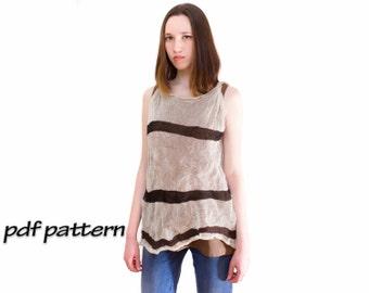 Knitting pattern Summer Top Cotton tunic Knitting pattern Gypsy Tunic Women's tunic Knitting pattern Knitted T-shirt Knitting pattern top