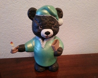 Ceramic Bear in Pajamas Holding Candle