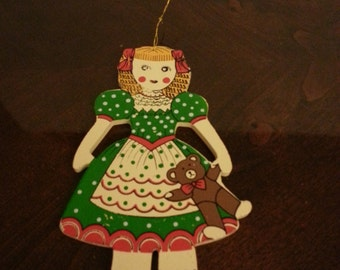 Wood Paper Doll Style Tree Ornament