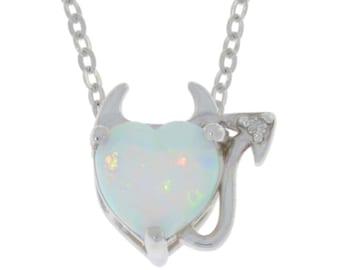 Opal & Diamond Devil Heart Pendant .925 Sterling Silver