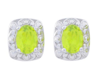3 Ct Peridot Oval Stud Earrings .925 Sterling Silver