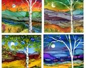 "Birch Tree Coaster Set- Four 4 1/4""x 4 1/4"" ceramic tiles. Imprint of Alcohol Ink paintings."