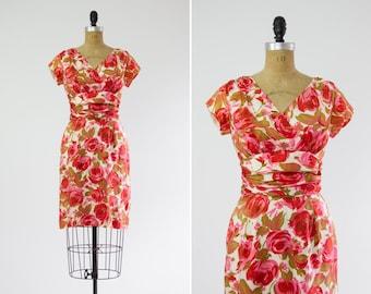 vintage 1950s pink floral dress | silk watercolor rose print wiggle dress
