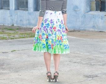 vintage high waisted midi skirt / floral midi skirt / high waisted white skirt / high waisted skirt / 70s skirt / cotton skirt vintage
