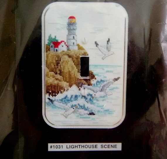 Lighthouse switch plate cover cross stitch kit by fond for Lighthouse switch plates