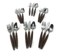 Vintage Danish Modern Flatware * Teak Look Fork Spoon Knife * American Tempo * 18 Pieces