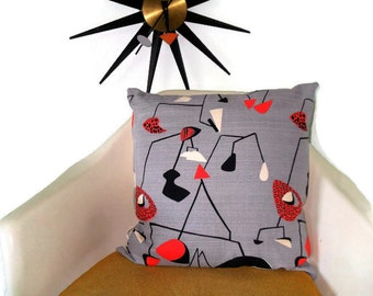 Accent Pillow Cover * Handmade * Vintage Atomic Kinetic Design Fabric* Cotton Barkcloth