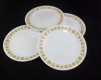 Vintage Corelle Dinnerware * Butterfly Gold  * Set of 4 Dinner Plates * Pyrex Compatible
