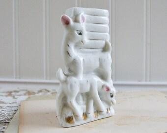 Vintage Small White Deer Bud Vase - Tiny Figurine Ceramic Porcelain Japan