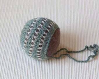 Newborn  hat knit alpaca bonnet newborn photo prop