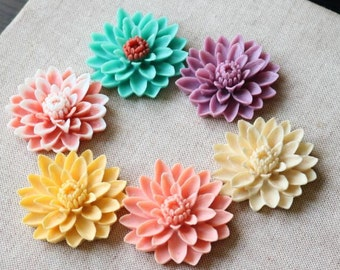 6 pcs of 6 COLORS OF resin chrysanthemum cabochon-55mm-0063-MIX color