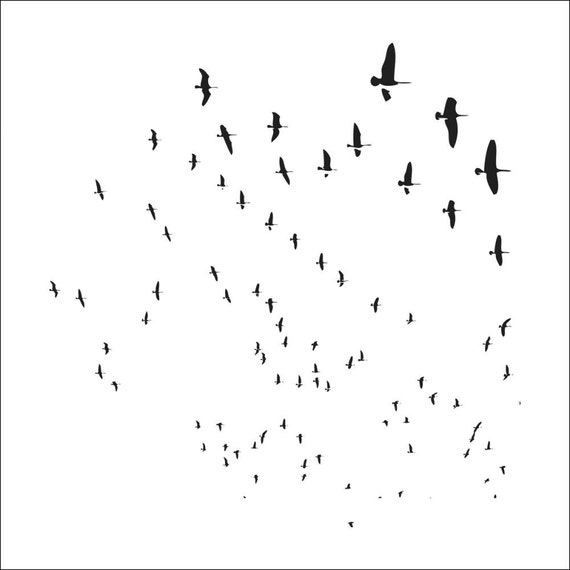 """Flying geese 6 x 6"""" Stencil /  template a Jaime Echt design perfect for mixed media, scrapbooking, journaling and so much more"""