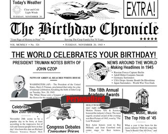 Birthday Party Decorations Birthday Gift Time Capsule Keepsake Birthday Gift Ideas Birthday Milestones 8 X 10 Inch Print