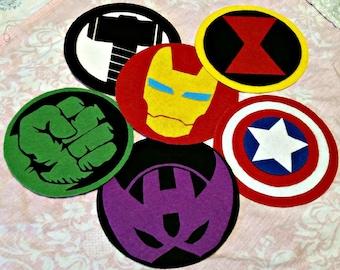 Set of Six (6) Avengers Patches - Captain America, Hulk, Thor, Black Widow, Hawkeye, Iron Man