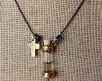 Leather necklace with Mustard Seed inside keepsake vial