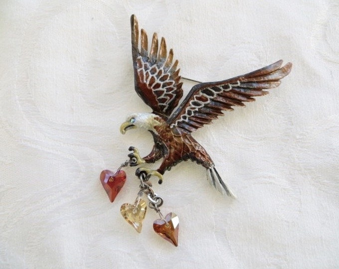 KIRKS FOLLY Eagle Brooch with Dangling Hearts Military Wife Military Mom Armed Forces Marines