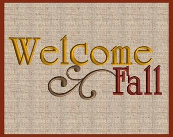 Welcome Fall Emboridery Design Fall Embroidery Design Thanksgiving Embroidery Design Machine Embroidery Design