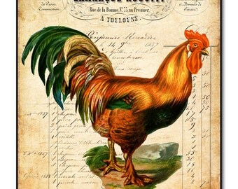 French Rooster Wall Art on Wood