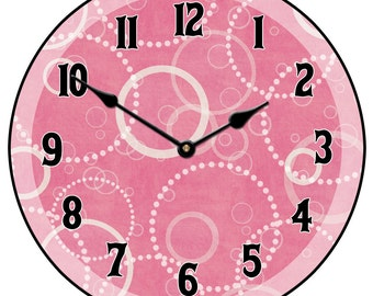 Hot Pink Circles Wall Clock